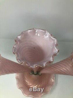 Murano Italian Art Glass Pink Gold Flake Swirl 3 Horn Epergne