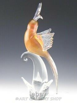 Murano Italy Art Glass 15.25 LARGE PARROT COCKATOO BIRD PINK & GOLD FLECK