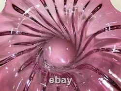 Murano Pink Art Glass Large Centerpiece Bowl, 16 Widest, 6 High