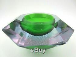 Murano Sommerso Mandruzzato facet cut green pink blue geometric glass bowl