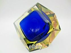 Murano Sommerso blue in green in pink UV green facet cut geometric glass bowl