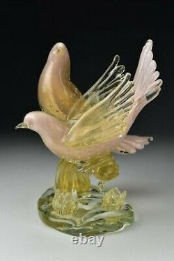 Murano Venetian Art Glass Bird Sculpture Pink Gold Fleck Two Birds