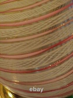Murano Venetian Latticino Pink, White & Gold Lamp