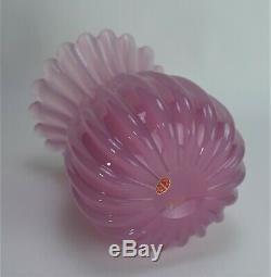 Murano glass vase Vintage Seguso original label Pink