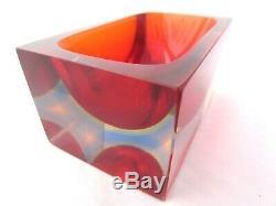 Murano multi sommerso Red/Green/Blue/Pink mandruzzato brick block art glass bowl