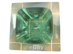 Murano sommerso green amber blue in pink glass 1.8KG designer facet cut bowl XXL