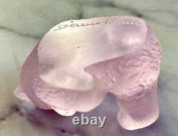NEW Daum Mini Bear Pink Pate de Verre French Crystal Signed Retail $203