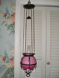 Near MINT c. 1885 Victorian Japanned & Pink Art Glass Hanging Lamp, NEVER USED