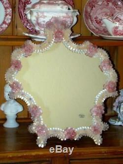 Old FRATELLI TOSI Venetian Murano Art Glass DRESSER MIRROR, Pink Flowers, Italy