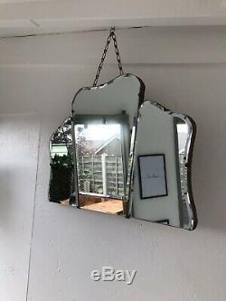 Old Peach Art Deco Mirror Art Deco Panel Mirror Frameless Pink Mirror