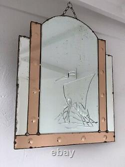 Old Peach Art Deco Mirror Art Deco Panel Mirror Frameless Pink Mirror Boat Glass