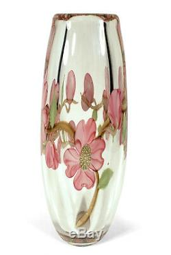 Orient Flume Art Glass Cased Crystal Vase Chico California Pink Dogwood Flowers
