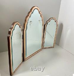Original 1930's Art Deco Triple Dressing Table Mirror Peach Bevelled Glass