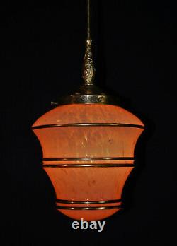 Original 1940s art deco gilt banded marbled cased glass & brass pendant light