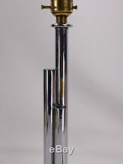 Original Art Deco Chrome Table Lamp. Pink Tulip Shape Glass Globe Shade