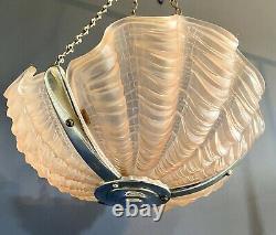Original Art Deco Pink Glass Ceiling Light Shade Odeon Clam Shell 1930s