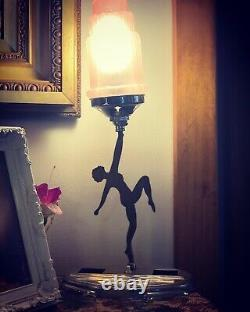 Original Art Deco Silhouette Lady Lamp with Pink Skyscraper Glass Shade
