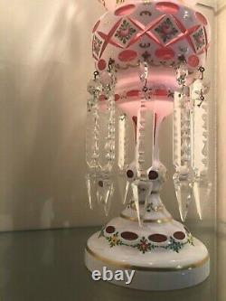 Pair MOSER-STYLE BOHEMIAN Czech WHITE CUT to Cranberry MANTLE LUSTERS withPRISMS