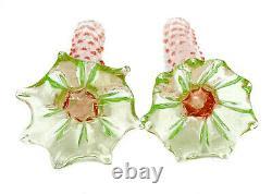 Pair Murano Venetian Pink and Green Molten Art Glass Vases