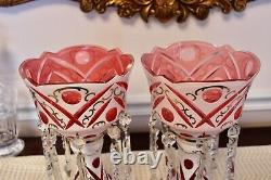 Pair of Bohemian Czech Overlay Cut to pink Glass Mantle Lusters