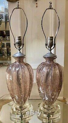 Pair of Pink Murano Italian Art Glass Designer Lamps by Barovier & Toso