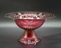 Pairpoint American Pattern Molded Rosaria Cranberry Pink 10 1/2 Centerpiece Bowl