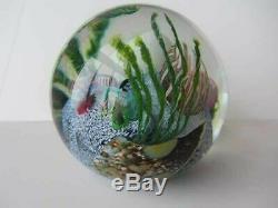 Paperweight Art Glass Mark Eckstrand 1990 Aquarium Coral Reef Seascape Colorful