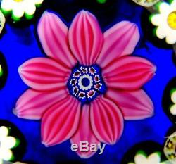 Paul Ysart Signed Pink Floral And Millefiori Canes Cobalt 2 3/4 Paperweight