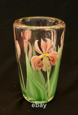 Perfect green & pink Orient and Flume Iris vase by Bruce Sillars USA