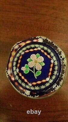 Perthshire PP222 Pink Flower & Bud Faceted Paperweight 2000