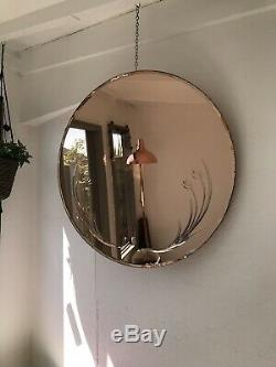 Pink Art Deco Peach Mirror Large Frameless Mirror Copper Mirror Bevelled