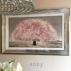 Pink Cherry Blossom Tree Liquid Art Picture Glass Silver frame 114cm x 74cm