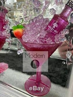 Pink Gin and Strawberry Cocktail glass 3D glitter art mirrored picture