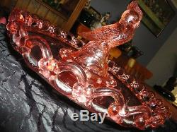 Pink Kakadu or Cockatoo Flower Frog Figurine in Link Chain Pattern Float Bowl