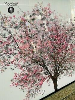 Pink blossom tree on white back ground in a mirrored frame, 3D glitter art