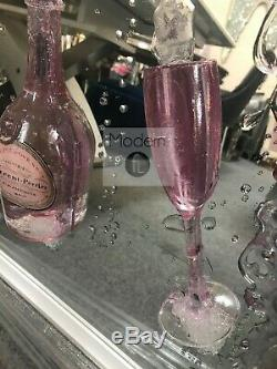 Pink rose champagne and flutes 3D glitter art mirrored picture, modern picture