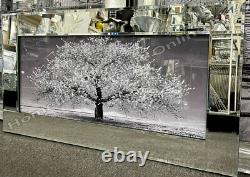 Pink/white/blue leaves blossomed tree pictures with liquid art & mirror frames
