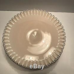 RARE Fenton Pink Milk Glass 12.5 Cakestand Cake Plate Silvercrest Ruffled