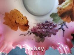RARE! Hand painted Art glass Bride basket figural quadruple silver plate frame