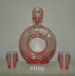 RARE McKee Art Deco Lifesaver Decanter & Glasses Set Pink c. 1930s