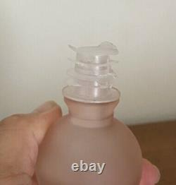 RARE Vintage FROSTED Pink RIBBED Glass MINI Genie BOTTLE Ball STOPPER