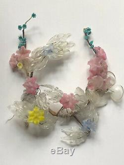 RARE Vintage MURANO GLASS Venetian FLOWERS Leaves Antique Pink Yellow Blue WIRE