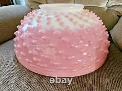 Rare 14 Pink Cranberry Glass End Of Day Hobnail Victorian Art Glass Lamp Shade