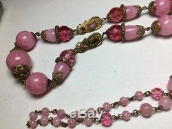 Rare 1920's Antique Czech Pink Peking Art Glass Egyptian Revival Neiger Necklace
