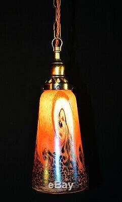 Rare 1950s Art nouveau bronzed brass & handmade iridescent glass pendant light