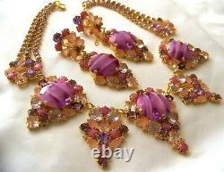 Rare CZECH Rose Pink & Purple Art Glass GP Rhinestone Glass Couture Necklace Set