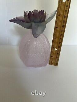 Rare Daum Glass Pate De Verre Physalis Pink Purple Green Flower Perfume Bottle