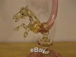 Rare Large Barovier Toso Salviati Horse Cornucopia Vase Pink Gold Venetian Glass