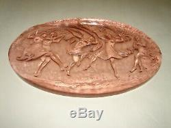 Rare Phoenix Consolidated Pink Art Glass Plaque depicts Dancing People 12
