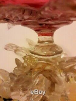 Rare Salviati Barovier Fratelli Toso Pink Silver Venetian Dragon Serpent Glass